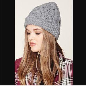 Grey Knit Ribbed Versatile Beanie Warm Hat EUC